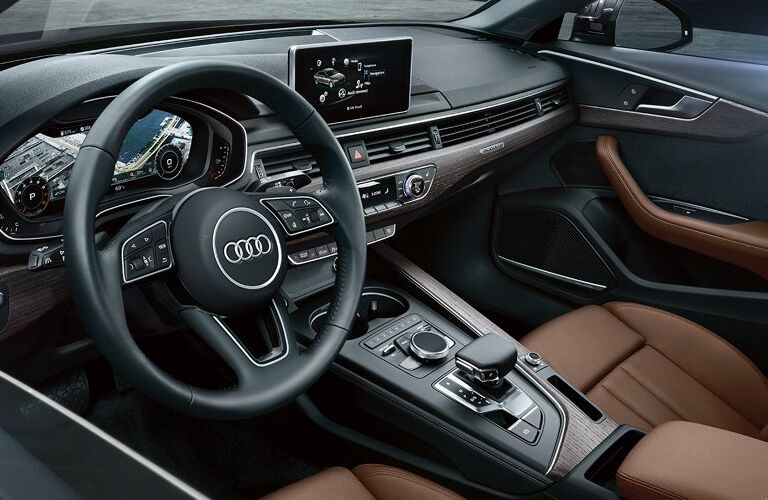 2019 Audi A4 interior steering wheel and dashboard