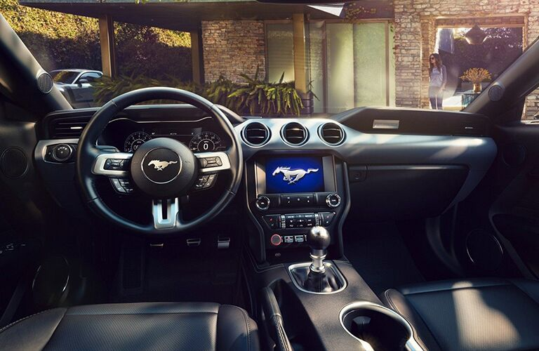 2019 Ford Mustang interior steering wheel and dashboard