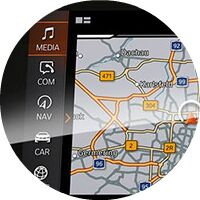 closeup of 2019 BMW 3 Series touchscreen navigation