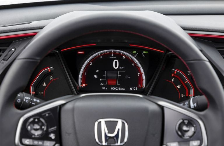 2020 Honda Civic SI steering wheel and instrument cluster