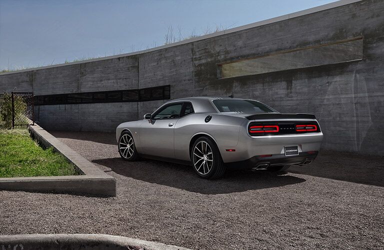 rear of gray dodge challenger