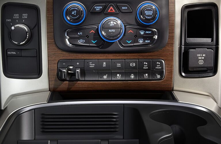 center controls and buttons of 2018 ram 3500