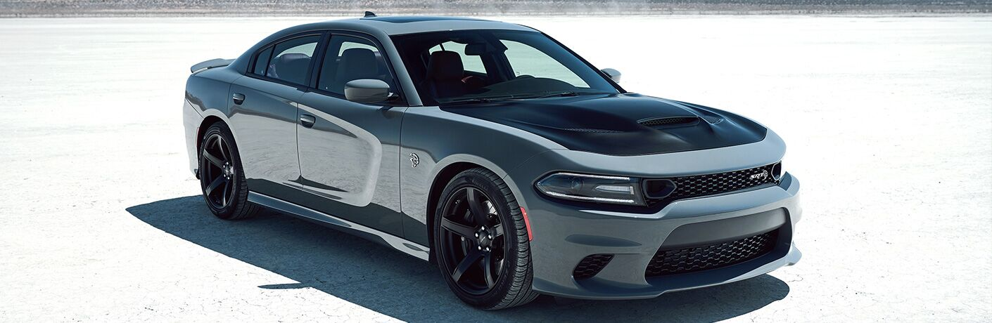 front and side view of black and gray 2019 dodge charger