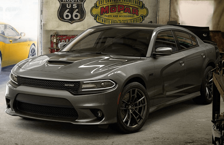 front and side view of gray 2019 dodge charger