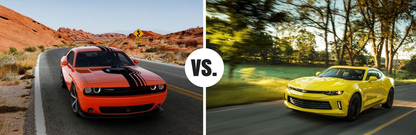 orange dodge challenger vs yellow chevy camaro