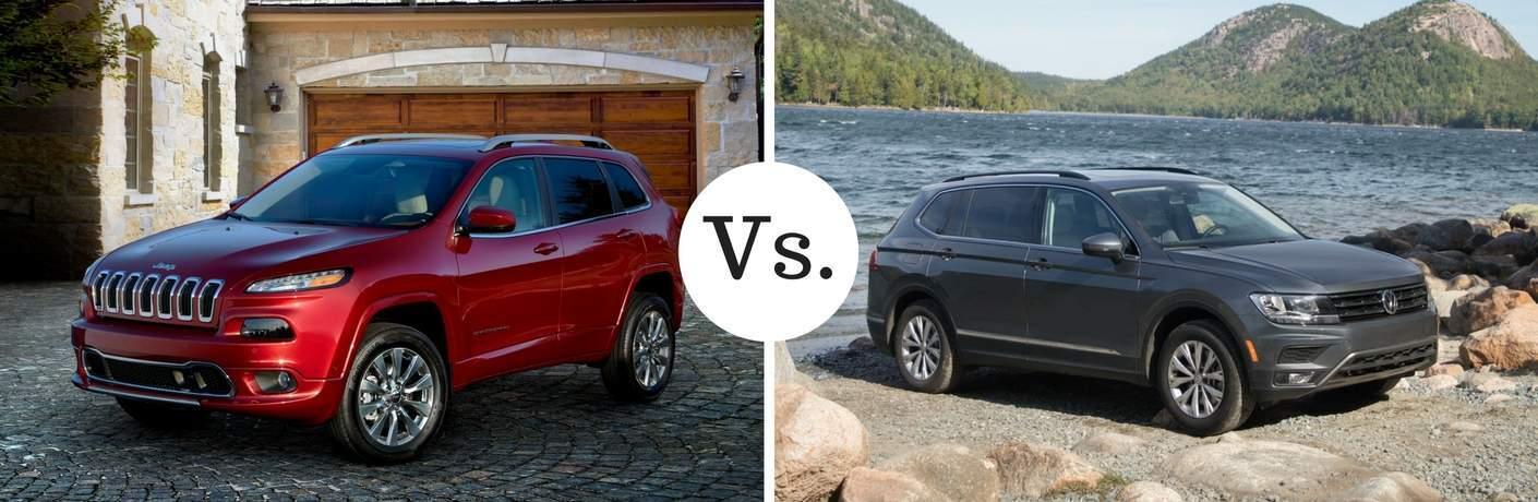 red jeep cherokee vs gray volkswagen tiguan