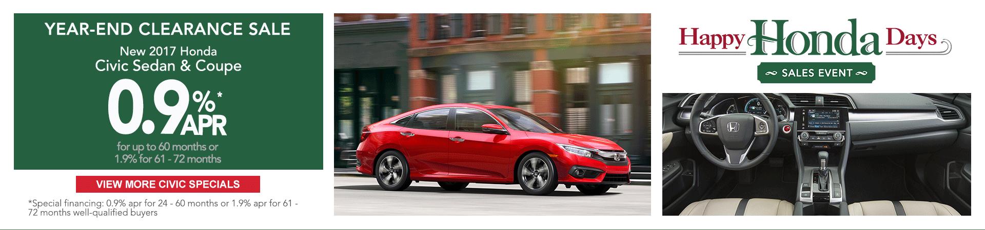 Honda Civic clearance finance specials