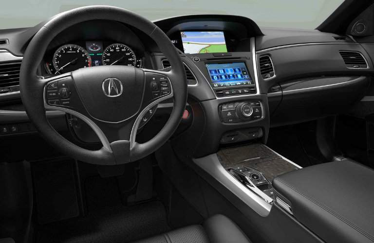 Steering Wheel and Touchscreen of 2018 Acura RLX