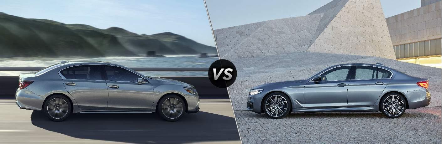 Silver 2018 Acura RLX, VS Icon, and Silver 2018 BMW 5 Series