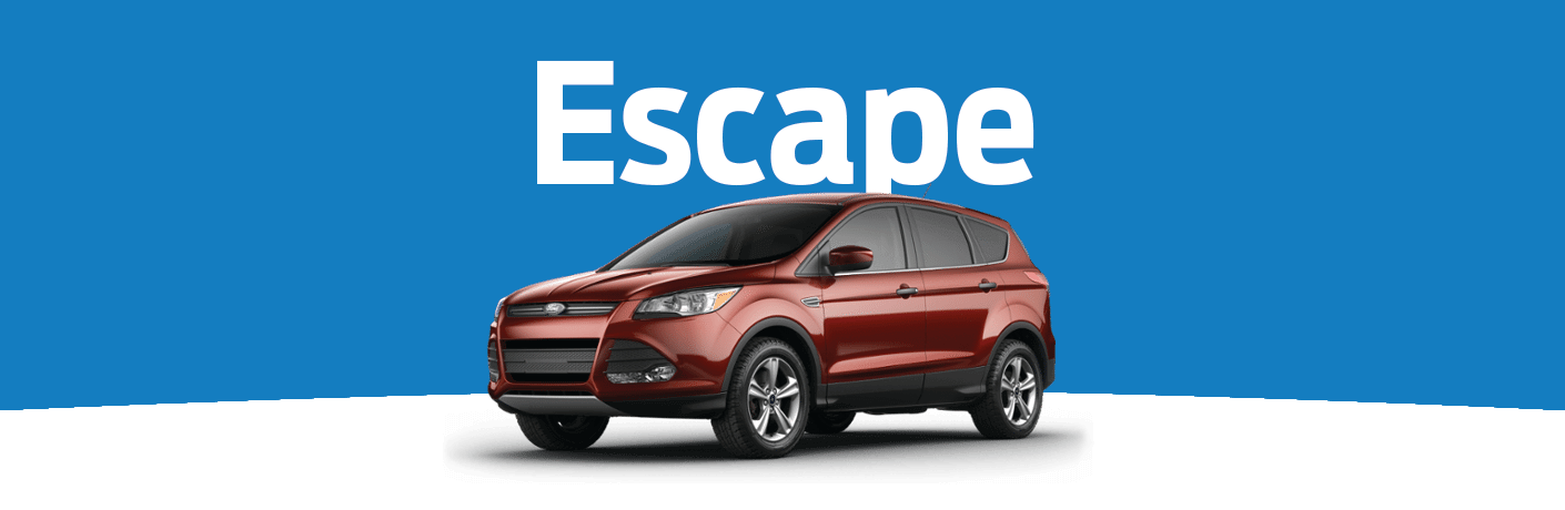 "Exterior view of a red 2015 Ford Escape against blue and white background with ""Escape"" in white text above the vehicle"