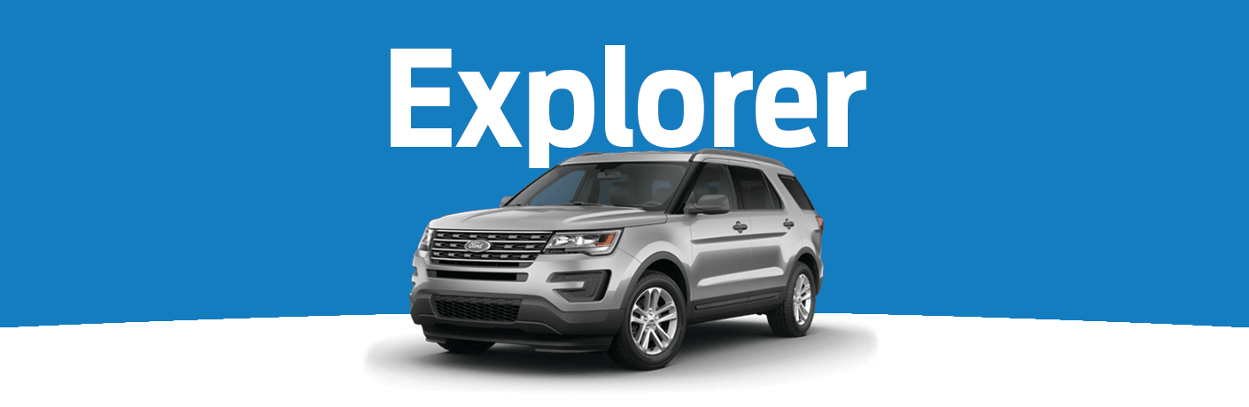 "Exterior view of a silver 2015 Ford Explorer placed against a blue and white background with ""Explorer"" in white text above the vehicle"