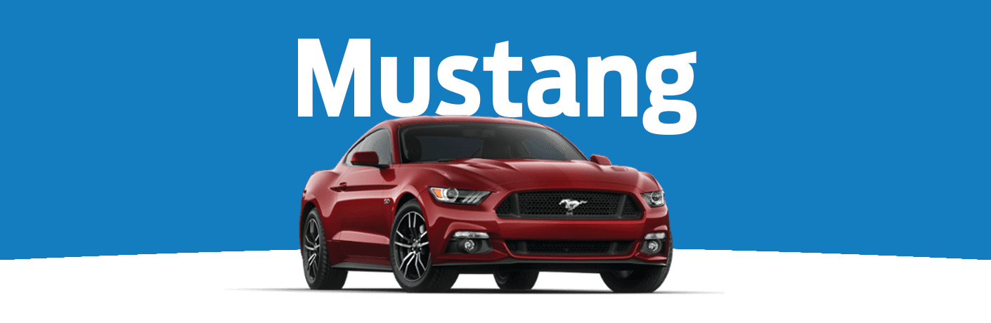 "Exterior view of a red 2015 Ford Mustang against blue and white background with ""Mustang"" in white text above the vehicle"