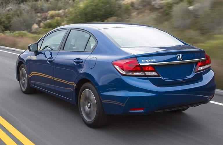 Rear View of Blue 2015 Honda Civic