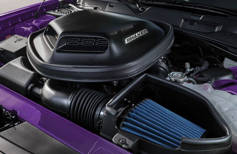 Exterior view of the engine of a purple 2018 Dodge Charger