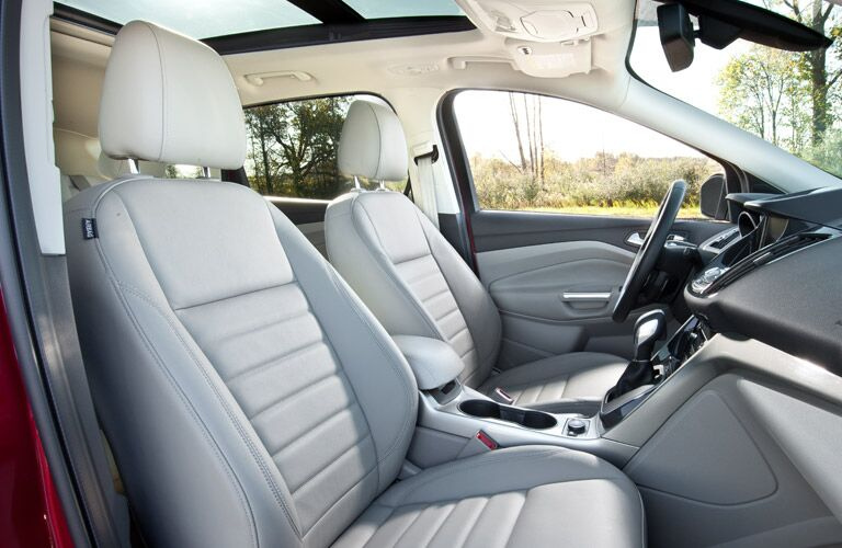 Interior view of the front row of seating in a 2016 Ford Escape