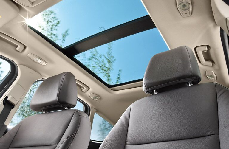 Interior view of the panoramic sunroof of a 2016 Ford Escape