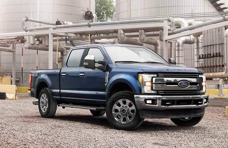 2017 Ford F-350 blue side view