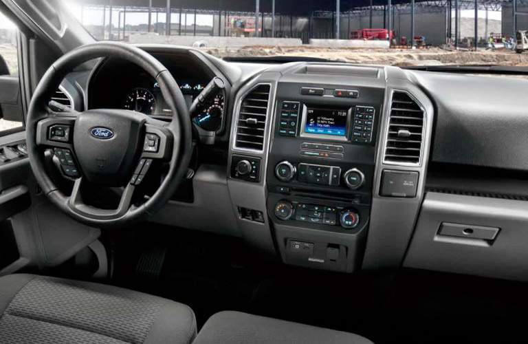 2017 Ford F-150 interior dash steering wheel and infotainment system
