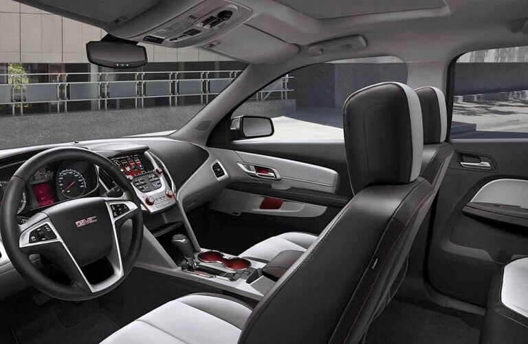 Interior View of 2017 GMC Terrain showing steering wheel and front seats