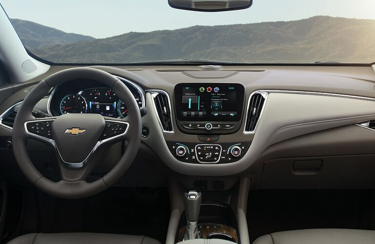 Steering Wheel, Gauges, and Touchscreen of a 2018 Chevrolet Malibu