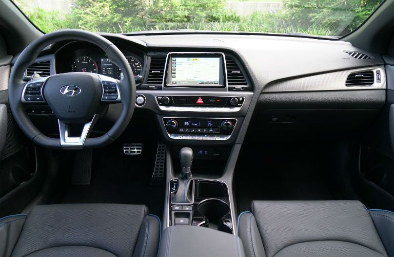 View of 2018 Hyundai Sonata interior with steering wheel and touch screen