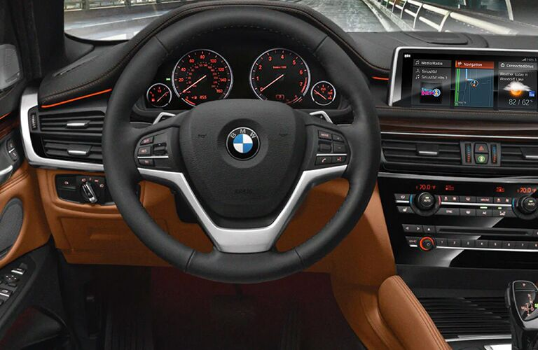 Interior closeup view of the steering wheel and dashboard inside a 2019 BMW X6