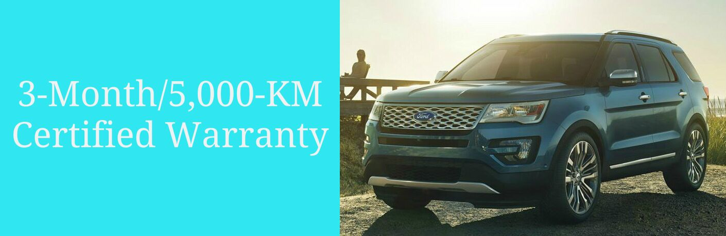3-Month/5,000-KM Certified Warranty Title and Blue 2016 Ford Explorer