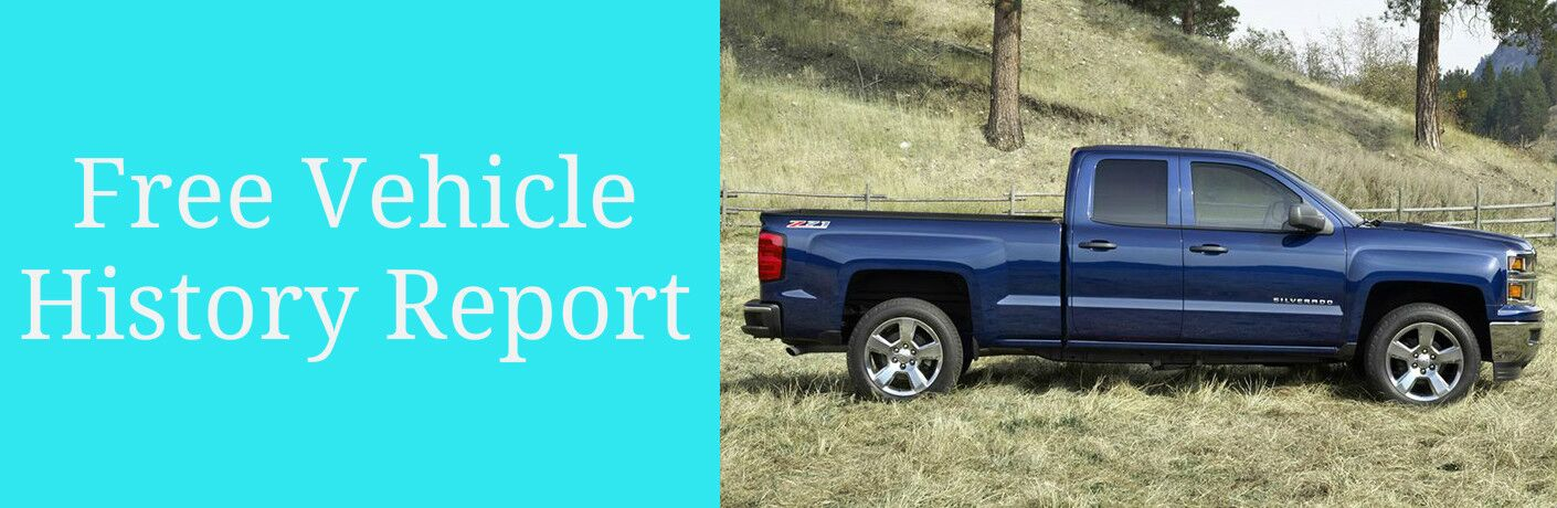 Free Vehicle History Report Title and Blue 2016 Chevy Silverado