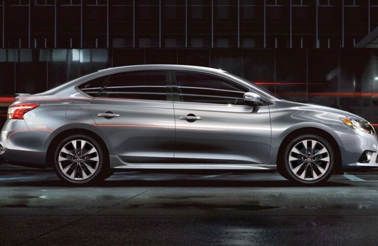 Side view of a silver 2019 Nissan Sentra