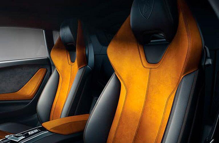 Lamborghini Huracan Coupe orange and black seats