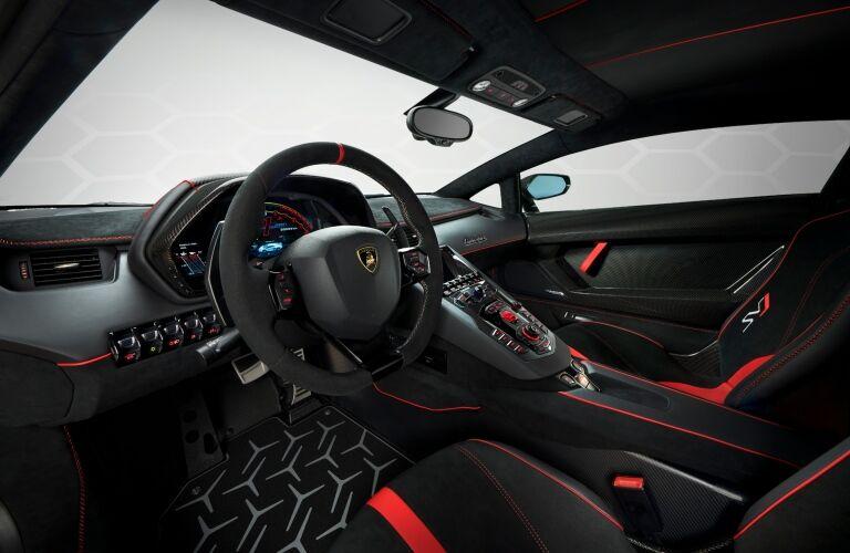 Lamborghini Aventador SVJ interior black and red