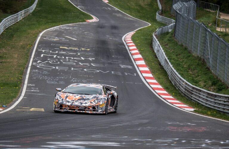 Lamborghini Aventador SVJ on the Nurburgring in press paint