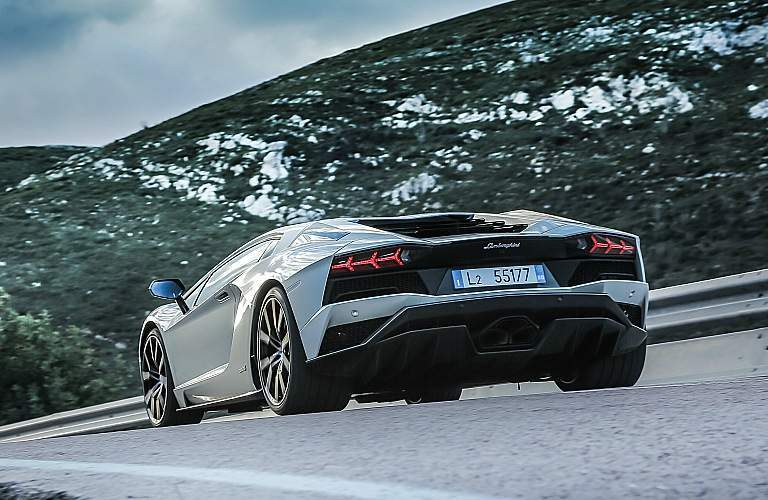 Lamborghini Aventador S white rear view