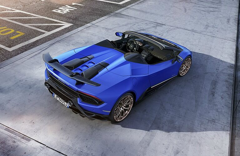 Lamborghini Huracan Performante Spyder blue back view