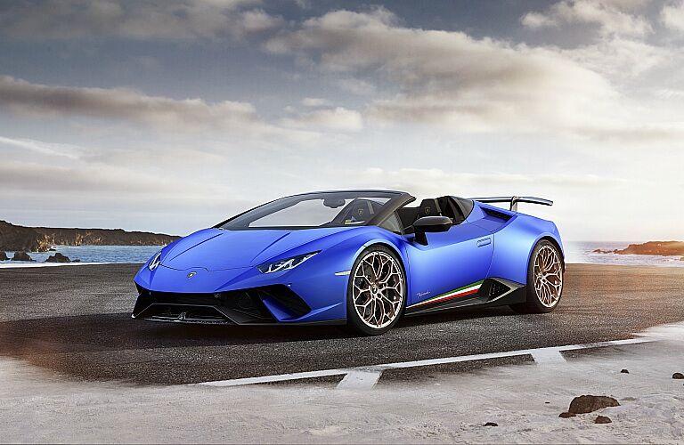 Lamborghini Huracan Performante Spyder blue front side view