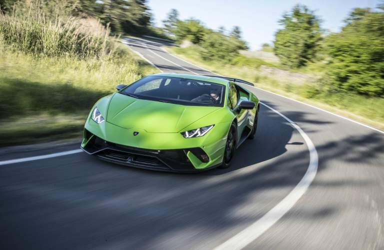 Lamborghini Huracan Performante green front view on a curve