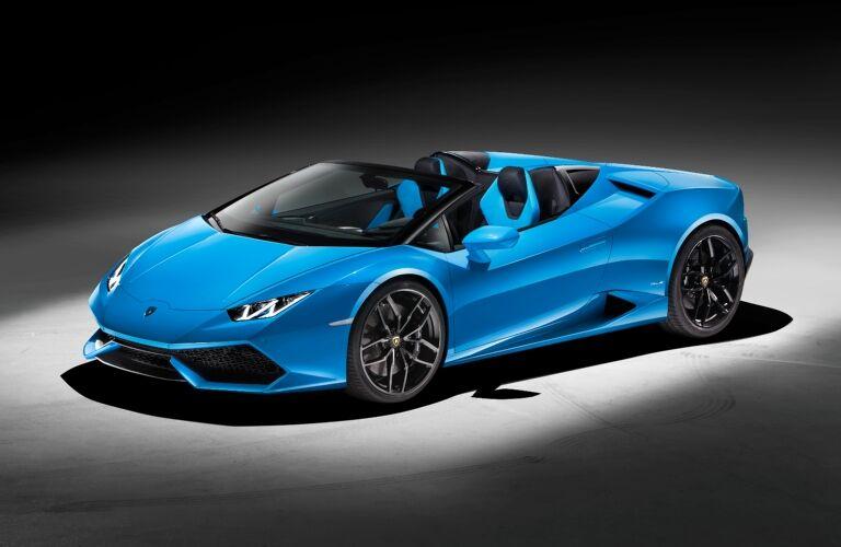 Lamborghini Huracan Spyder blue front view top down