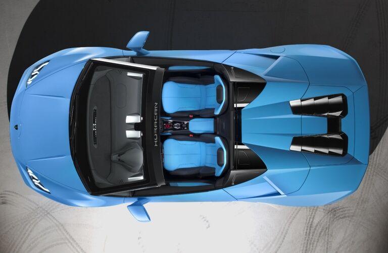 Lamborghini Huracan Spyder blue top view top down