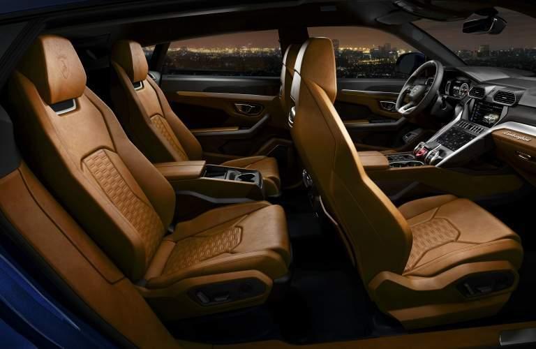 Lamborghini Urus front and back seats brown leather