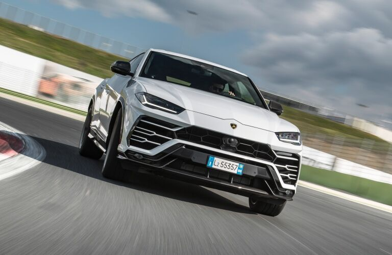 Lamborghini Urus white front view on the track