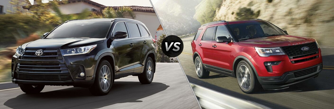Black 2018 Toyota Highlander on a City Street vs Red 2018 Ford Explorer on a Country Highway