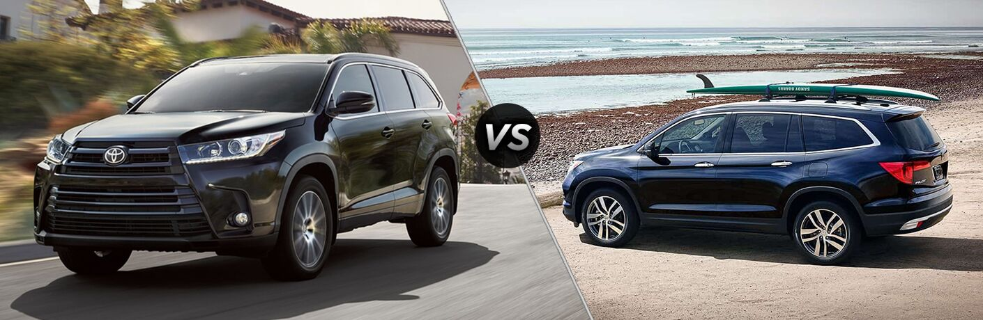 Black 2018 Toyota Highlander on City Street vs Blue 2018 Honda Pilot at the Beach with Surfboard on the Roof