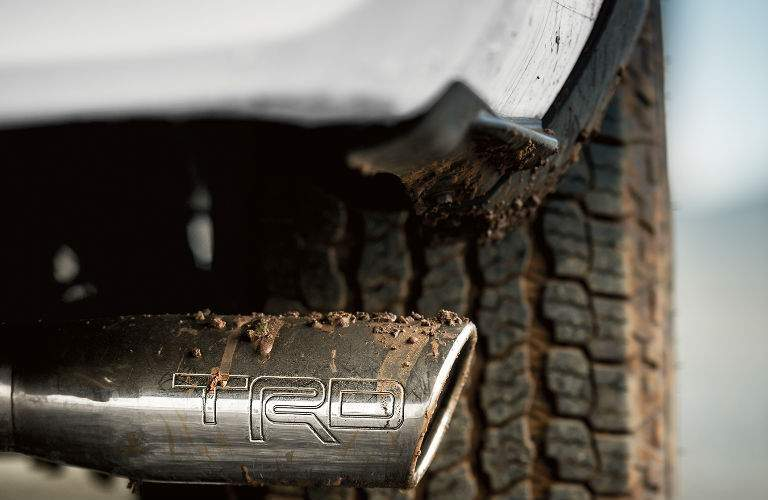 Close Up of 2018 Toyota Tacoma TRD Exhaust and Tire Tread