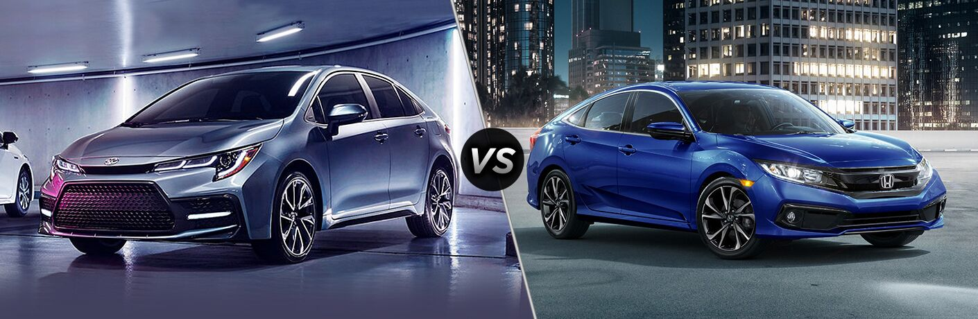 Front driver angle of a gray 2020 Toyota Corolla on left VS front passenger angle of a blue 2019 Honda Civic on right