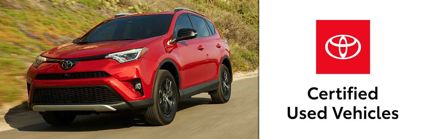 Red 2017 Toyota RAV4 on Country Road and Red/Black/White Toyota Certified Used Vehicles Logo on a White Background