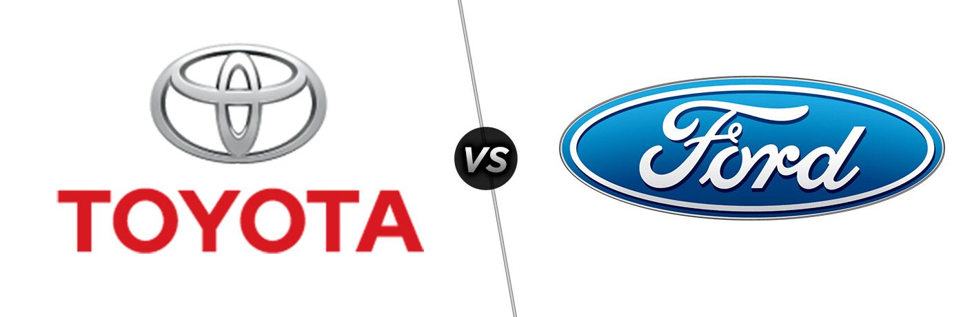 Red and Silver Toyota Logo on a White Background vs Blue Ford Logo on a White Background