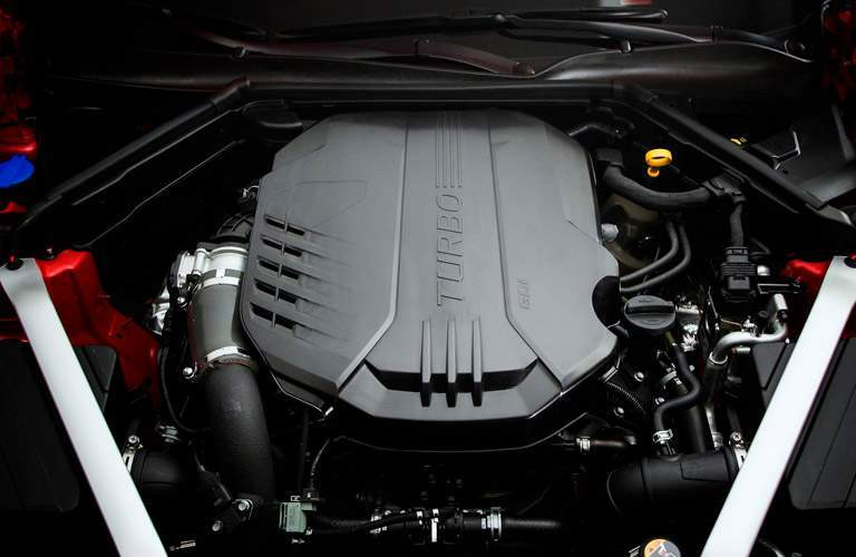 turbo V6 engine underneath hood of 2018 kia stinger