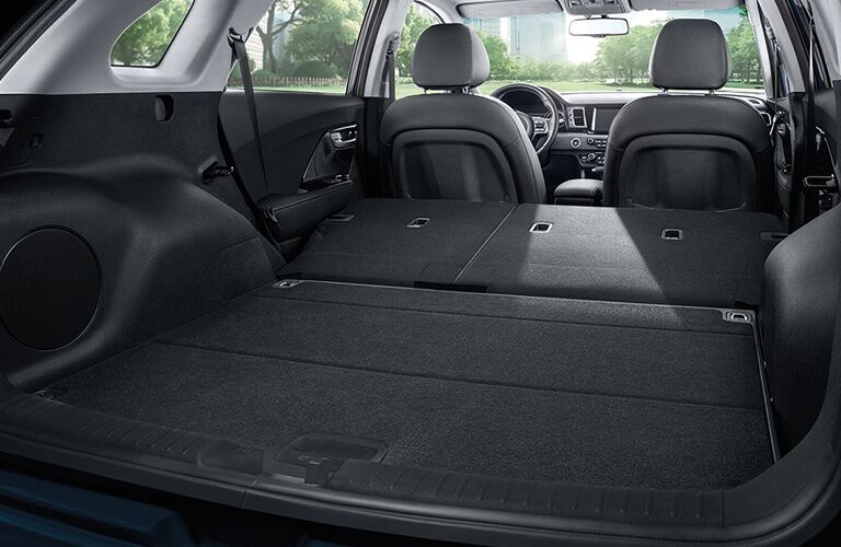 rear cargo area of 2019 Kia Niro with rear seats folded down