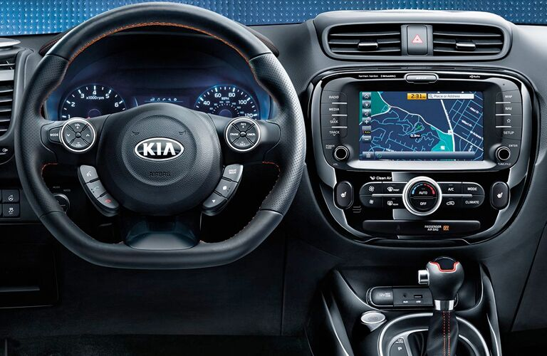 front interior of 2019 kia soul including steering wheel and infotainment system