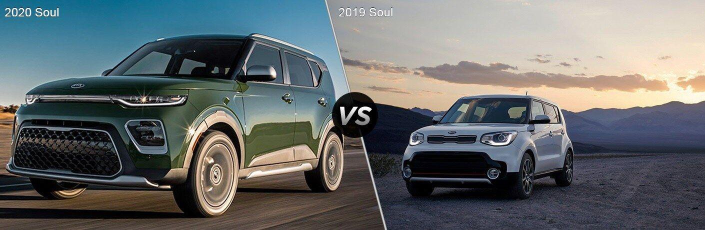Green 2020 Kia Soul and white 2019 Kia Soul side by side